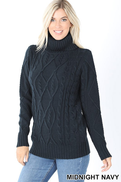 Midnight Navy Cable Knit Turtleneck Sweater