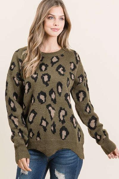 Olive Animal Print Soft Knit Chunky Sweater