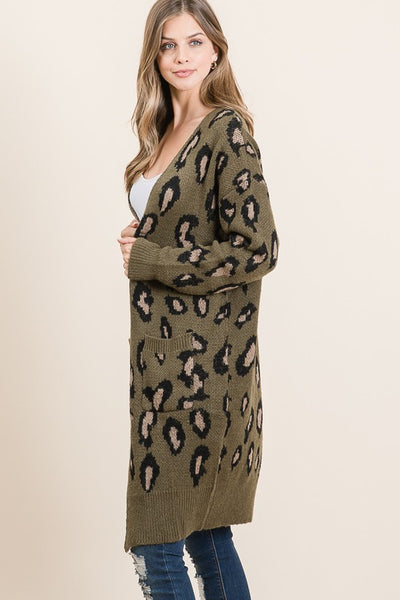 Olive Animal Print Long Sweater Cardigan