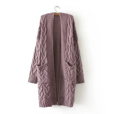 Lavender Open Front Sweater Cardigan
