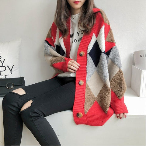 Red Mix Argyle Button Front Cardigan