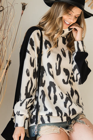 Black Brushed Animal Print Turtleneck Sweater Top