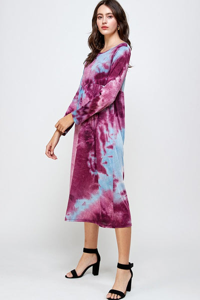 "Purple Tie Dye ""Mandy"" Midi Dress"