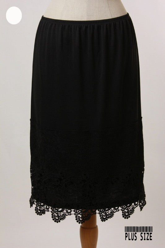 Plus Size Black Large Panel Slip Extender