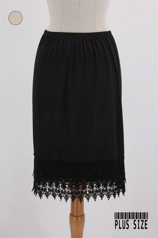 Plus Size Black Crochet Lace Slip Extender