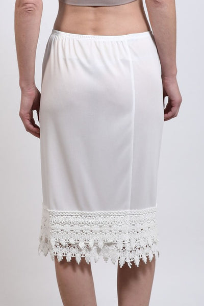 Plus Size White Crochet Lace Slip Extender