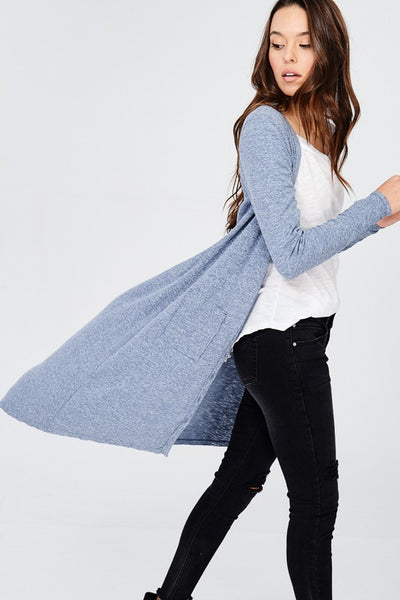 Denim Blue High Low Button Front Cardigan Duster