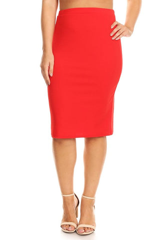 "Red Elastic Waist ""Deborah"" Pencil Midi Skirt"