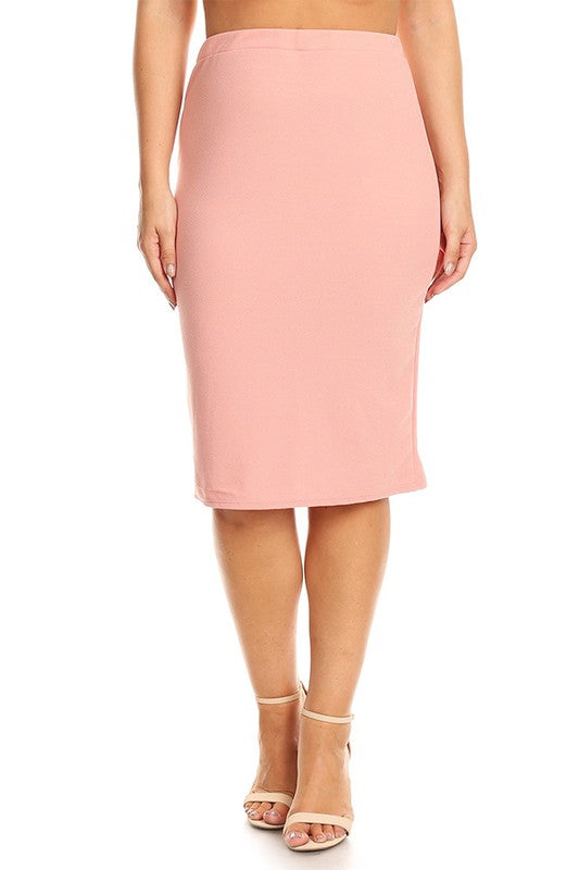 "Dusty Pink Bubble Crepe ""Mya"" Pencil Midi Skirt"