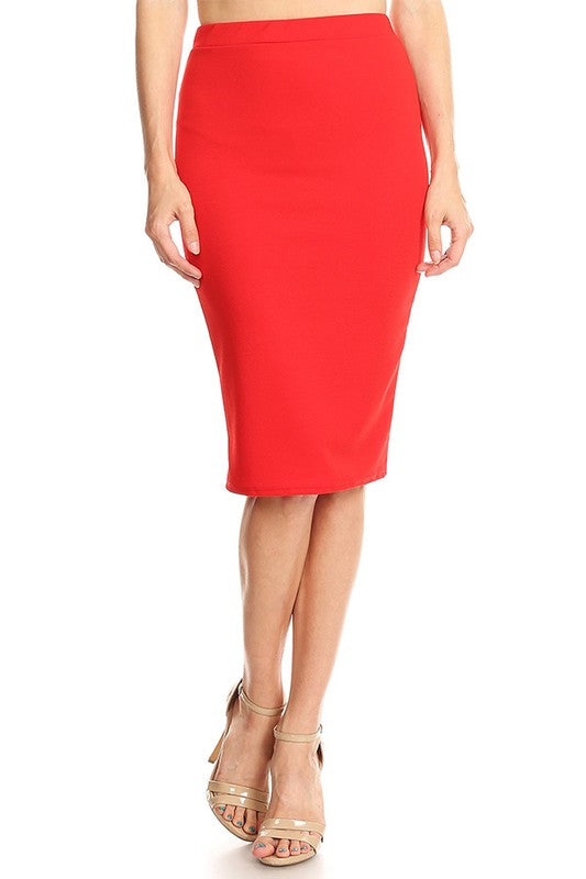 "Red Bubble Crepe ""Mya"" Pencil Midi Skirt"