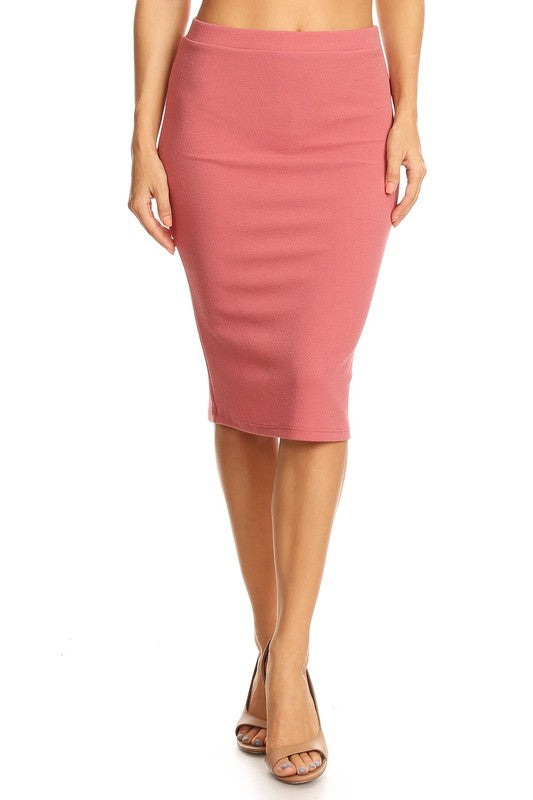 "Mauve Bubble  Crepe ""Mya"" Pencil Midi Skirt"
