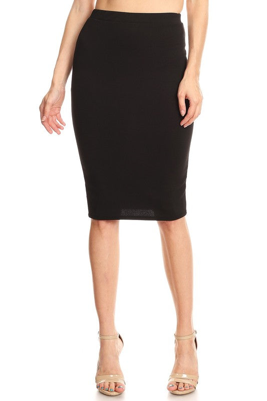 "Black Bubble Crepe ""Mya"" Pencil Midi Skirt"