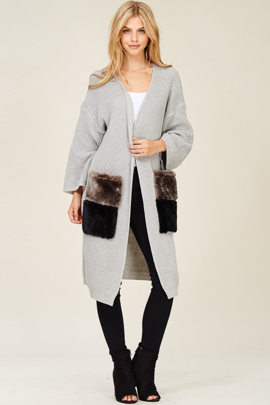 Heather Gray Open Front Fur Pocket Long Sweater Cardigan