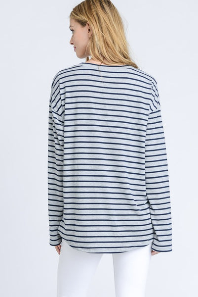 Heather Gray & Navy Striped Lace Up Top