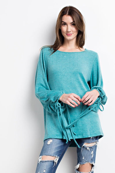 Coral Blue Comfy Bubble Sleeve Sweater Knit Top