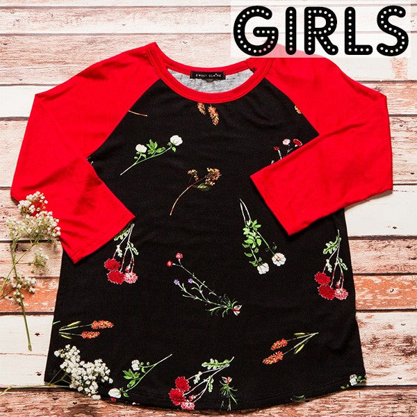 Girls Raglan Sleeve Black & Red Floral Baseball Tee