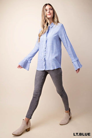 "Light Blue Button Down Ruffle Detail ""Karla"" Tunic"