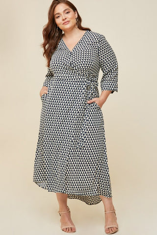 "Plus Size Navy Geometric Print Wrap ""Mallory"" Maxi Dress"