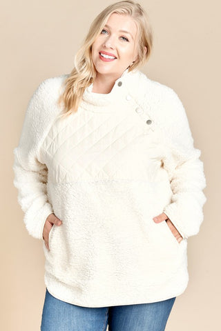 Plus Size Ivory Asymmetrical Snap Popover Collar Pullover