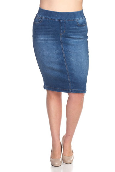 "Plus Size Indigo Wash ""Laurie"" Elastic Waist Denim Midi Skirt"