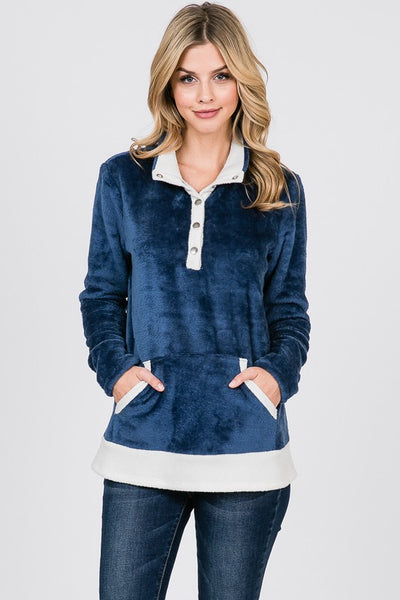 Navy Button Front Cuddle Sherpa Pullover