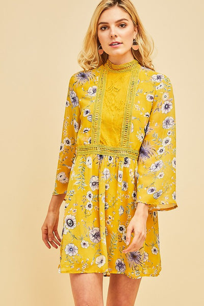 Mustard Floral Mock Neck Lace Front Tunic