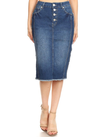 "Indigo Wash Frayed Hem ""Addie"" Denim Midi Skirt"