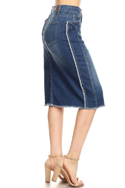 "Indigo Frayed Hem ""Addie"" Denim Midi Skirt"