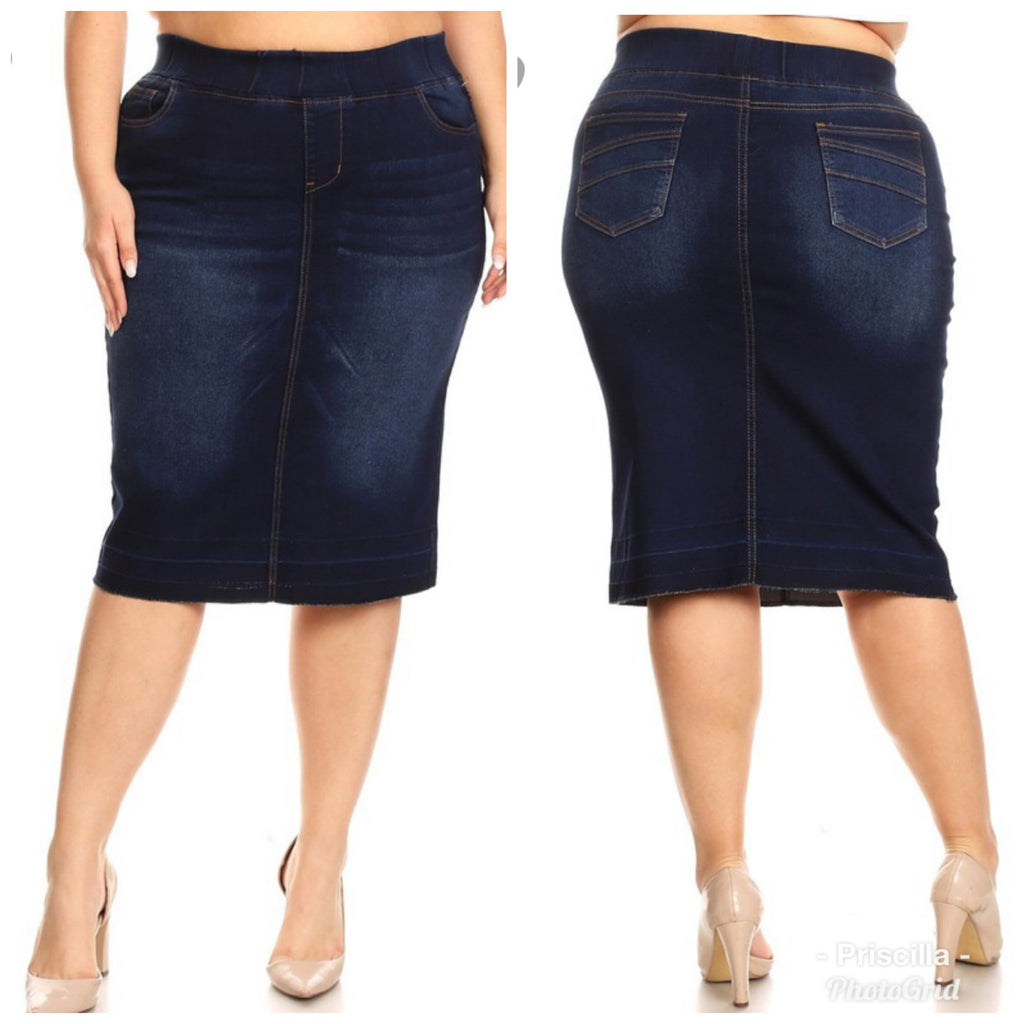 "Plus Size Dark Indigo Wash ""Laurie"" Elastic Waist Denim Midi Skirt"