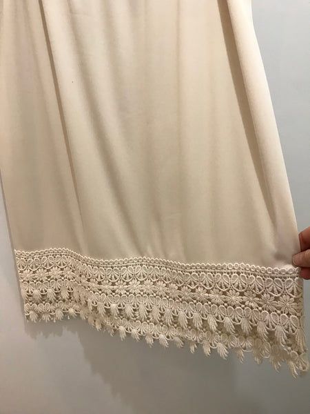 Plus Size Natural Cream Crochet Lace Slip Extender