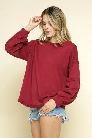 burgundy raw edge pullover