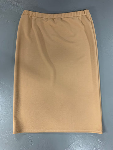 "Tan Bubble Crepe ""Mya"" Pencil Midi Skirt"