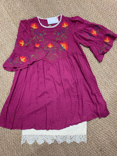 Cranberry Bell Sleeve Embroidered Front Tunic