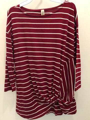 Girls Burgundy Stripe Twisted Hem Top