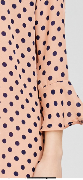 Salmon & Navy Polka Dot Tunic