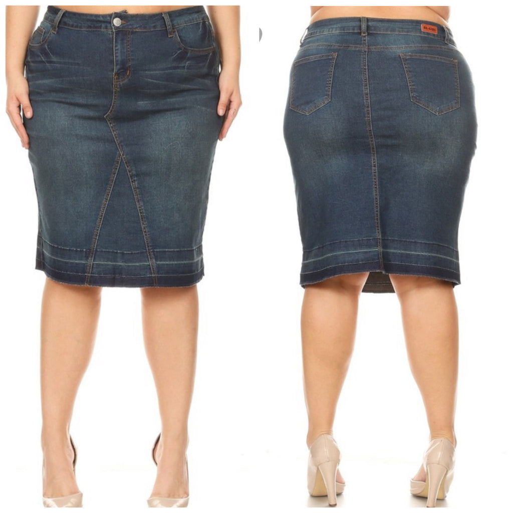 "Plus Size Vintage Wash Gayle ""Midi"" Skirt"
