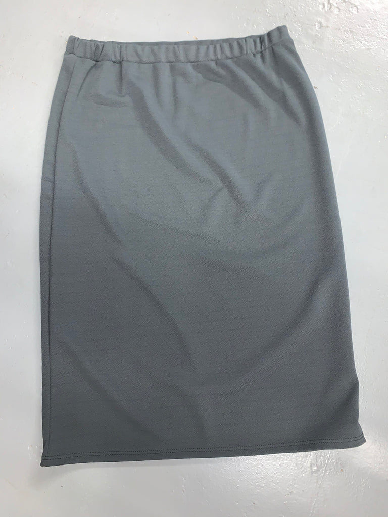 "Charcoal Gray Bubble Crepe ""Mya"" Pencil Midi Skirt"