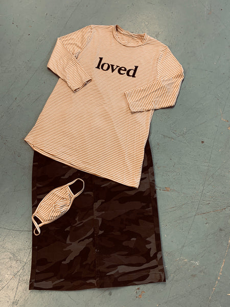 "Mustard striped ""LOVED"" Top"