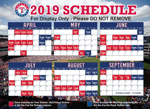 Ambitious image intended for texas rangers schedule printable