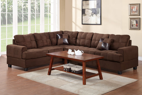 2 Piece Microfiber Plush Chocolate Sectional Set - Furniture App Online by Furniture Assistant  a Furniture Store in York PA