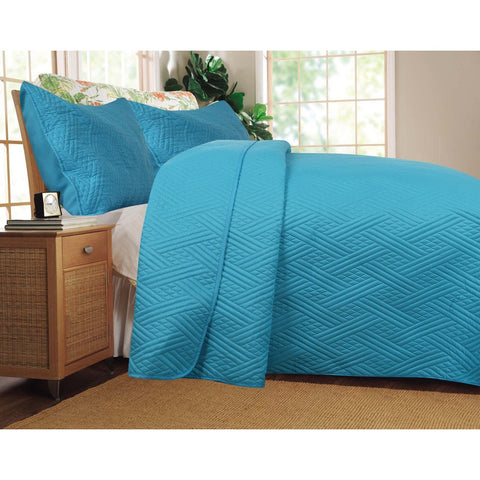 Solid Turquoise Teal Blue Thin & Lightweight Reversible Quilted Coverlet Bedspread Set (LH3000) - Furniture App Online by Furniture Assistant  a Furniture Store in York PA