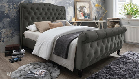 Grey Poly-Linen Upholstered Tufted Bed - Furniture App Online by Furniture Assistant  a Furniture Store in York PA