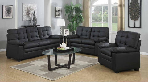Black Leather Stationary Living Room Set - Furniture App Online by Furniture Assistant  a Furniture Store in York PA