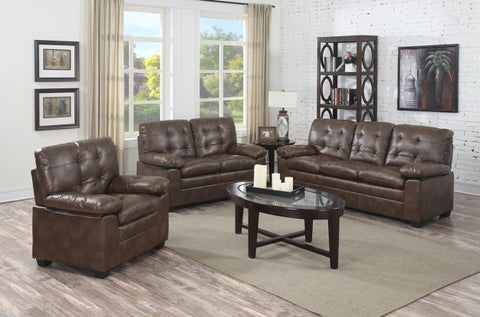 Weathered Brown Leather Stationary Living Room Set - Furniture App Online