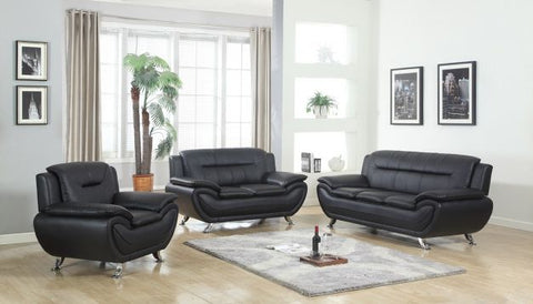 Contemporary Black Leather Sofa Set - Furniture App Online