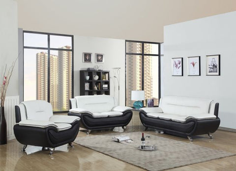 Contemporary White & Black Leather Sofa Set - Furniture App Online by Furniture Assistant  a Furniture Store in York PA