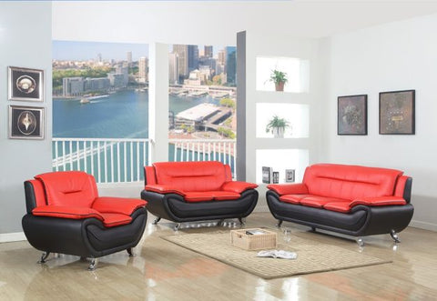 Contemporary Red & Black Leather Sofa Set - Furniture App Online by Furniture Assistant  a Furniture Store in York PA