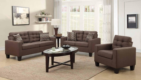 Chocolate Poly-Linen Sofa Set - Furniture App Online by Furniture Assistant  a Furniture Store in York PA