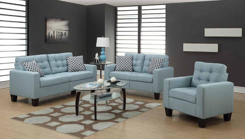 Turquoise Poly-Linen Sofa Set - Furniture App Online by Furniture Assistant
