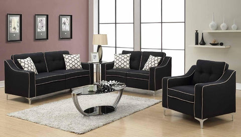 Black Poly-Linen Sofa Set - Furniture App Online by Furniture Assistant  a Furniture Store in York PA